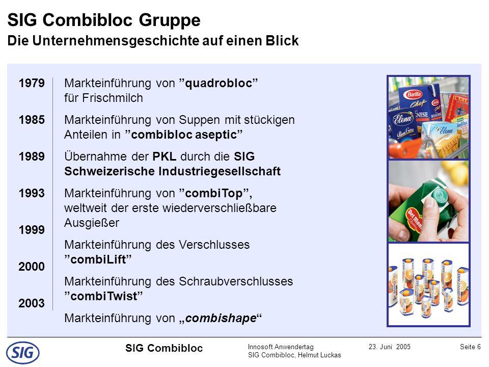 Innosoft Anwendertag SIG Combibloc, Helmut Luckas 23. Juni 2005Seite 6 SIG Combibloc SIG Combibloc Gruppe Die Unternehmensgeschichte auf einen Blick 1