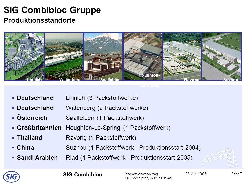Innosoft Anwendertag SIG Combibloc, Helmut Luckas 23. Juni 2005Seite 7 SIG Combibloc SaalfeldenLinnichRayong WittenbergSuzhou Houghton- Le-Spring Deut