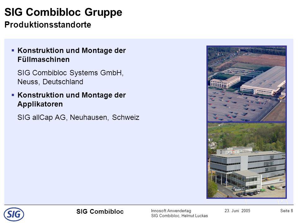 Innosoft Anwendertag SIG Combibloc, Helmut Luckas 23. Juni 2005Seite 8 SIG Combibloc Konstruktion und Montage der Füllmaschinen SIG Combibloc Systems