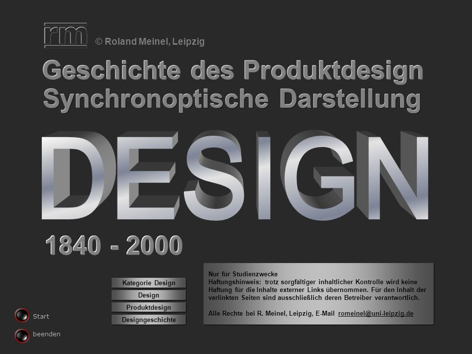 Geschichte des Produktdesign Synchronoptische Darstellung © Roland Meinel, Leipzig 1840 - 2000 Produktdesign Design Designgeschichte Kategorie Design