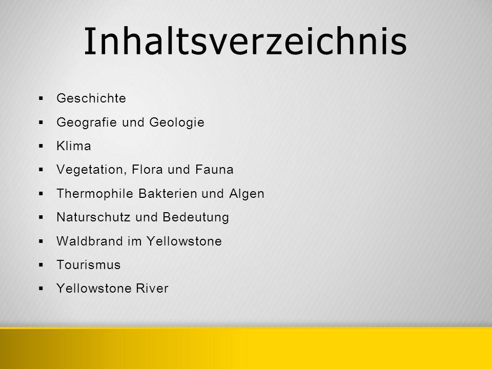 Inhaltsverzeichnis Geschichte Geografie und Geologie Klima Vegetation, Flora und Fauna Thermophile Bakterien und Algen Naturschutz und Bedeutung Waldb
