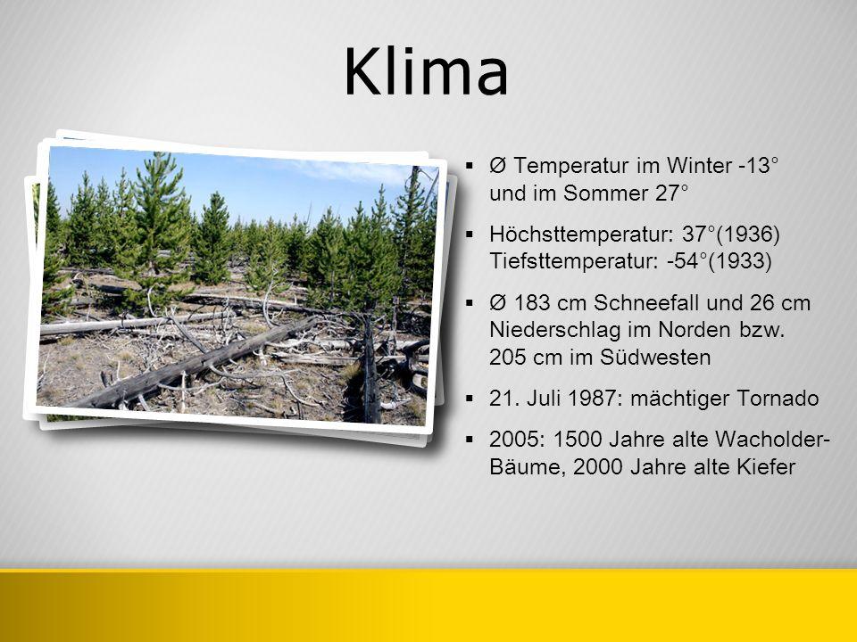 Klima Ø Temperatur im Winter -13° und im Sommer 27° Höchsttemperatur: 37°(1936) Tiefsttemperatur: -54°(1933) Ø 183 cm Schneefall und 26 cm Niederschla