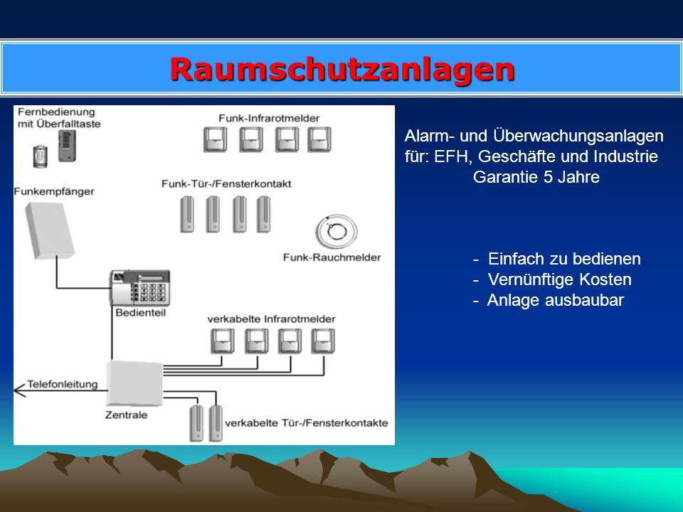 Raumschutzanlagen Alarm- und Überwachungsanlagen für: EFH, Geschäfte und Industrie Garantie 5 Jahre - Einfach zu bedienen - Vernünftige Kosten - Anlag