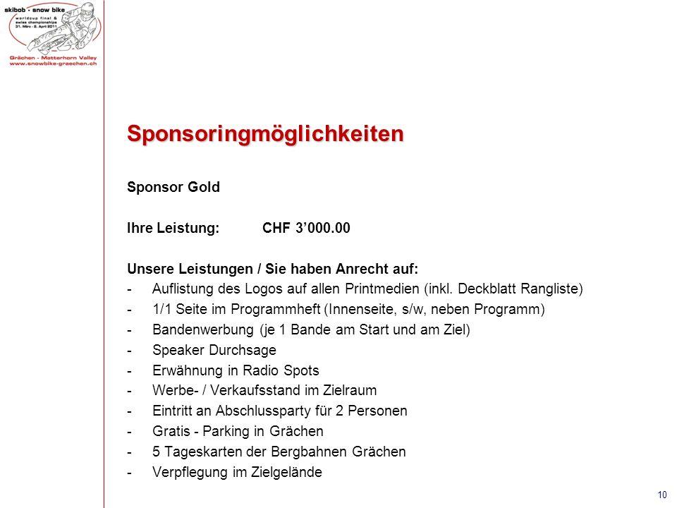 Sponsoringmöglichkeiten Sponsor Gold Ihre Leistung:CHF 3000.00 Unsere Leistungen / Sie haben Anrecht auf: -Auflistung des Logos auf allen Printmedien