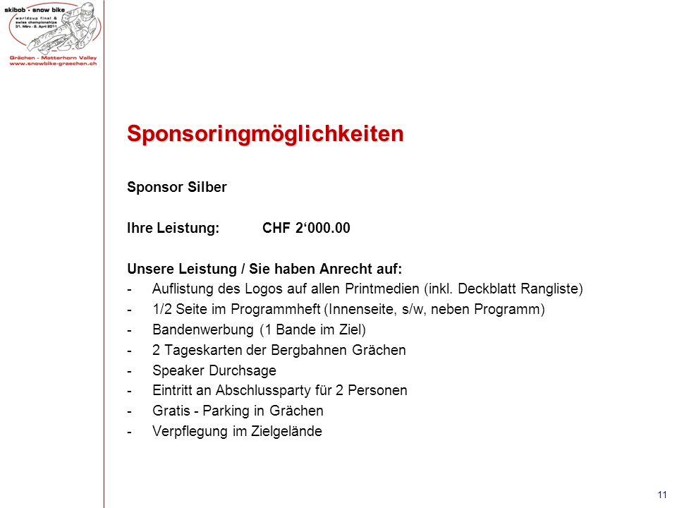 Sponsoringmöglichkeiten Sponsor Silber Ihre Leistung:CHF 2000.00 Unsere Leistung / Sie haben Anrecht auf: -Auflistung des Logos auf allen Printmedien