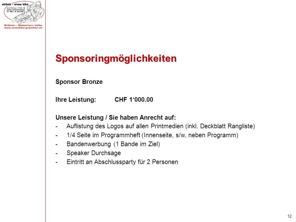 Sponsoringmöglichkeiten Sponsor Bronze Ihre Leistung:CHF 1000.00 Unsere Leistung / Sie haben Anrecht auf: -Auflistung des Logos auf allen Printmedien