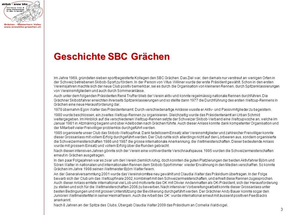 Geschichte SBC Grächen Im Jahre 1969, gründeten sieben sportbegeisterte Kollegen den SBC Grächen. Das Ziel war, den damals nur verstreut an wenigen Or