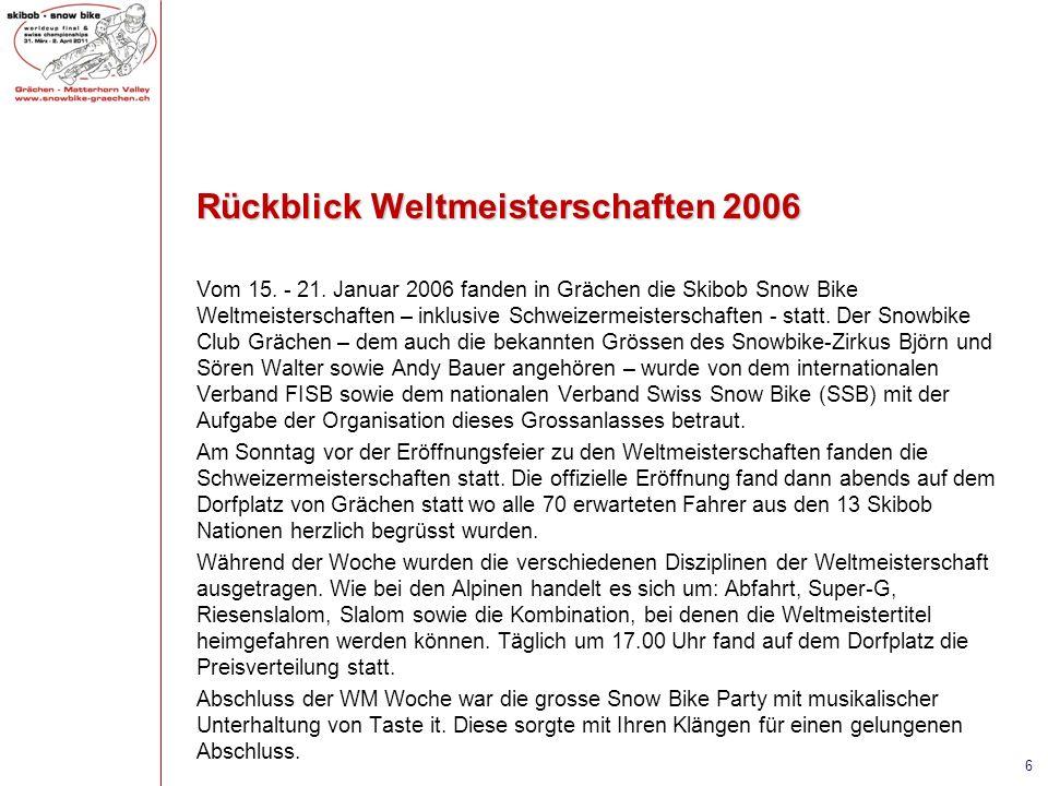 Rückblick Weltmeisterschaften 2006 Vom 15. - 21. Januar 2006 fanden in Grächen die Skibob Snow Bike Weltmeisterschaften – inklusive Schweizermeistersc