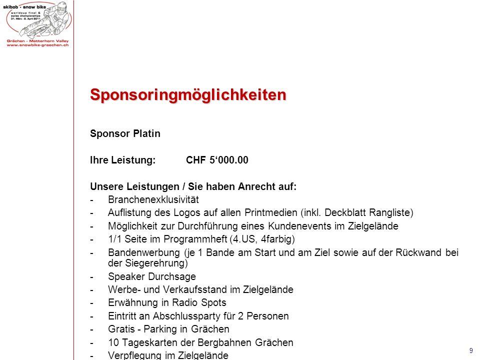 Sponsoringmöglichkeiten Sponsor Platin Ihre Leistung:CHF 5000.00 Unsere Leistungen / Sie haben Anrecht auf: -Branchenexklusivität -Auflistung des Logo