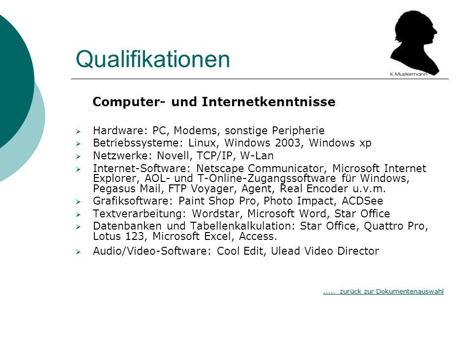 Qualifikationen Computer- und Internetkenntnisse Hardware: PC, Modems, sonstige Peripherie Betriebssysteme: Linux, Windows 2003, Windows xp Netzwerke: