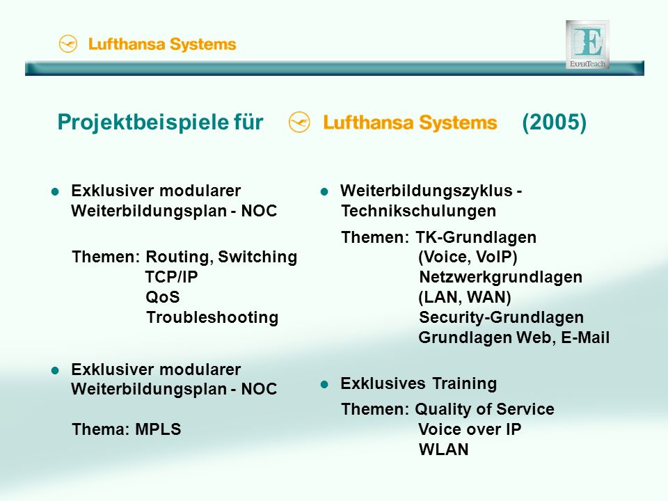 Projektbeispiele für (2005) l Exklusiver modularer Weiterbildungsplan - NOC Themen: Routing, Switching TCP/IP QoS Troubleshooting l Exklusiver modularer Weiterbildungsplan - NOC Thema: MPLS l Weiterbildungszyklus - Technikschulungen Themen: TK-Grundlagen (Voice, VoIP) Netzwerkgrundlagen (LAN, WAN) Security-Grundlagen Grundlagen Web, E-Mail l Exklusives Training Themen: Quality of Service Voice over IP WLAN