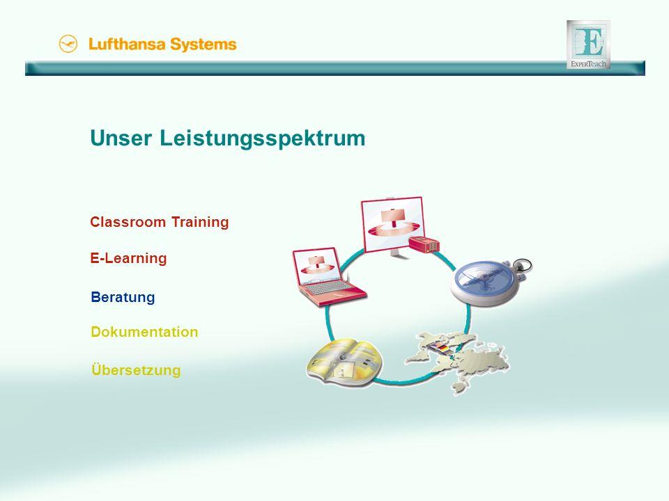 Unser Leistungsspektrum Classroom Training E-Learning Beratung Dokumentation Übersetzung