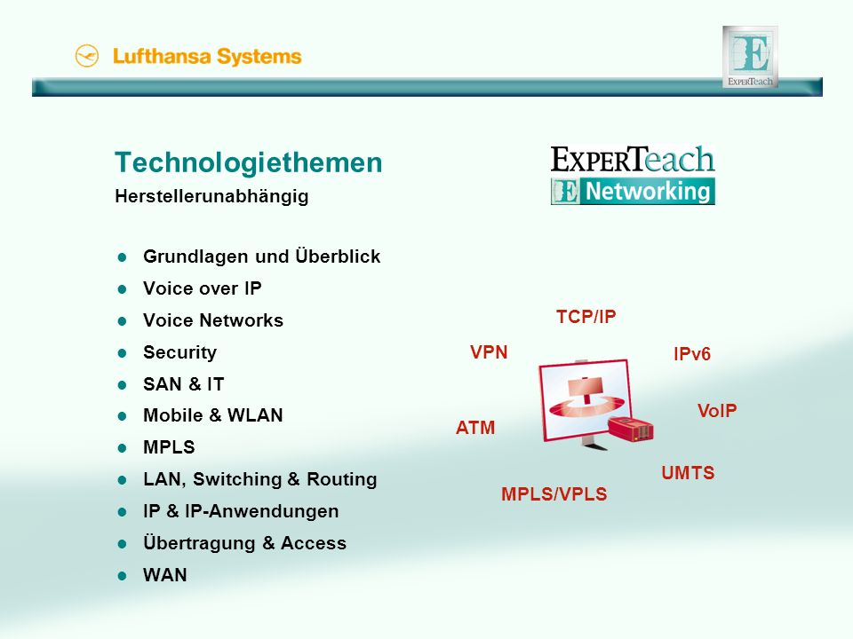 Technologiethemen Herstellerunabhängig l Grundlagen und Überblick l Voice over IP l Voice Networks l Security l SAN & IT l Mobile & WLAN l MPLS l LAN, Switching & Routing l IP & IP-Anwendungen l Übertragung & Access l WAN UMTS ATM VPN VoIP MPLS/VPLS TCP/IP IPv6