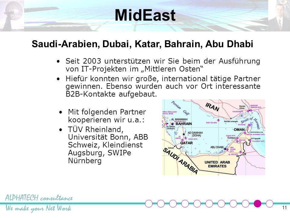 11 MidEast Seit 2003 unterstützen wir Sie beim der Ausführung von IT-Projekten im Mittleren Osten Hiefür konnten wir große, international tätige Partner gewinnen.