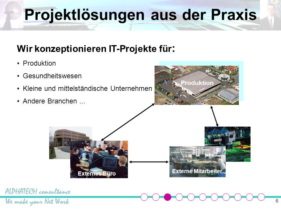 6 Projektlösungen aus der Praxis Produktion Externe Mitarbeiter Externes Büro Wir konzeptionieren IT-Projekte für : Produktion Gesundheitswesen Kleine und mittelständische Unternehmen Andere Branchen...