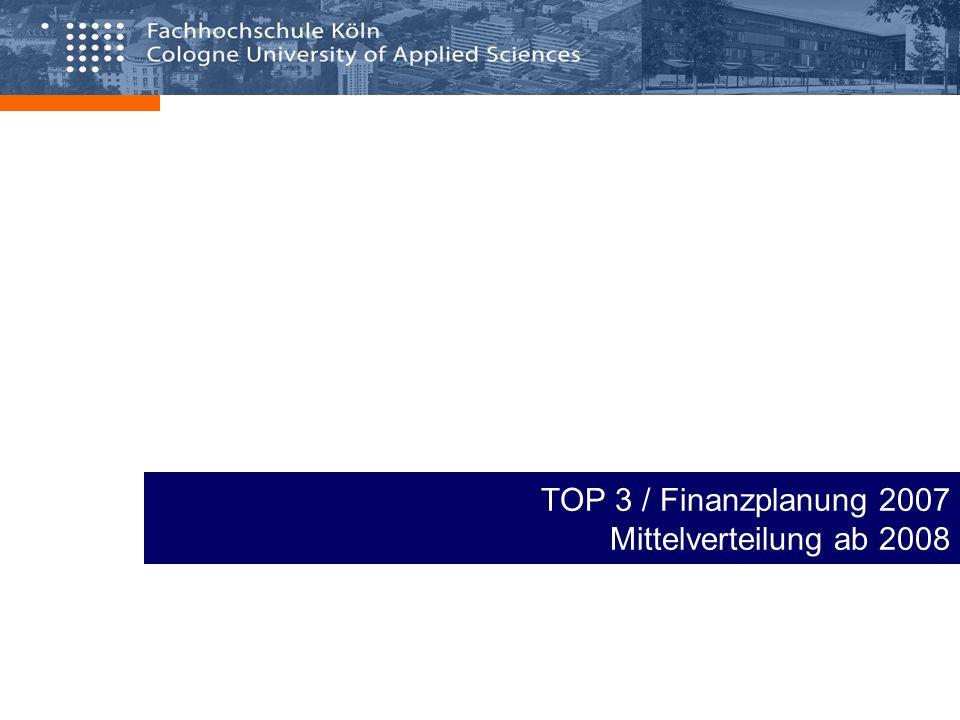 TOP 3 / Finanzplanung 2007 Mittelverteilung ab 2008