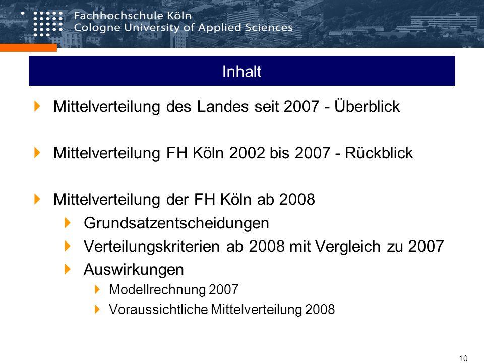 10 Inhalt Mittelverteilung des Landes seit 2007 - Überblick Mittelverteilung FH Köln 2002 bis 2007 - Rückblick Mittelverteilung der FH Köln ab 2008 Grundsatzentscheidungen Verteilungskriterien ab 2008 mit Vergleich zu 2007 Auswirkungen Modellrechnung 2007 Voraussichtliche Mittelverteilung 2008