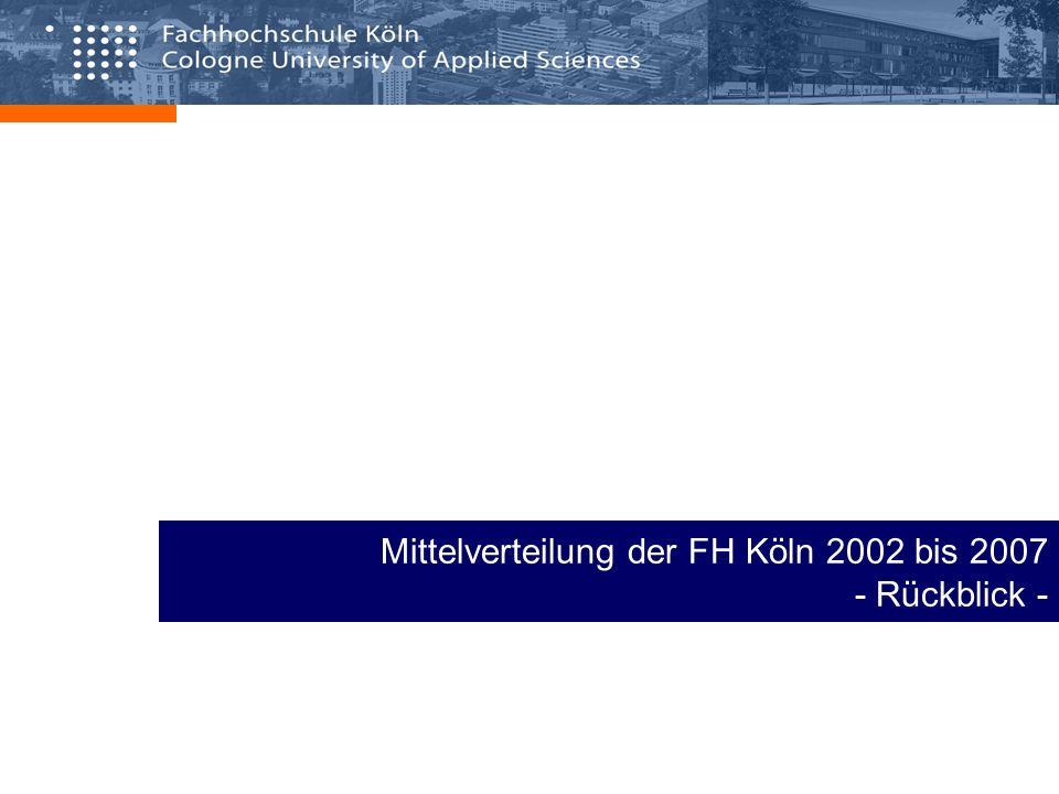 Mittelverteilung der FH Köln 2002 bis 2007 - Rückblick -