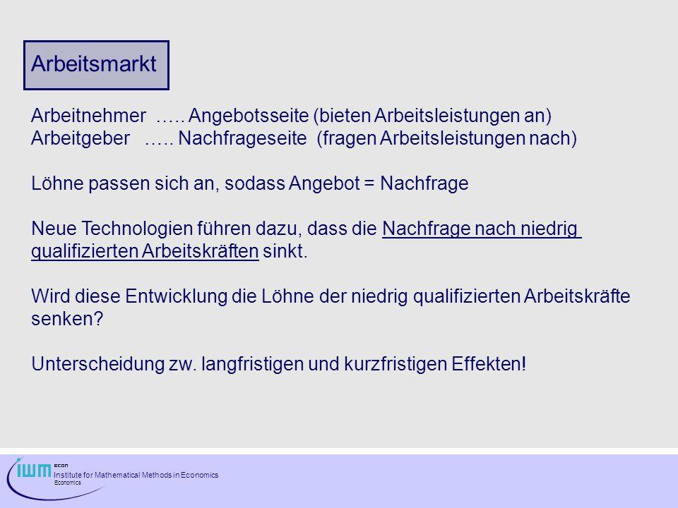 Institute for Mathematical Methods in Economics Economics Arbeitsmarkt Arbeitnehmer …..