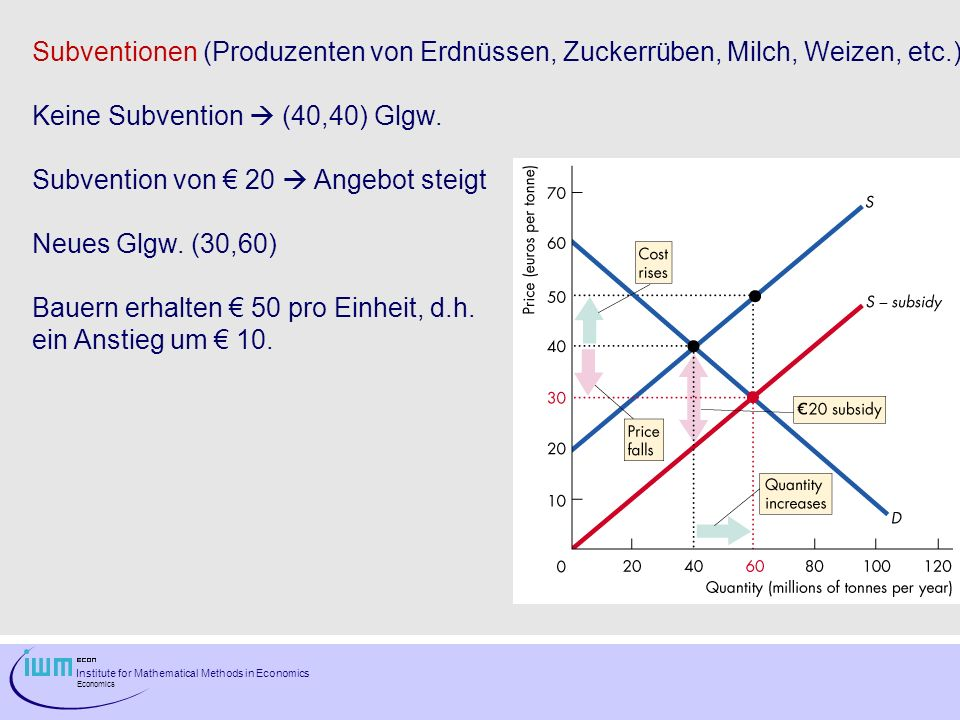 Institute for Mathematical Methods in Economics Economics Subventionen (Produzenten von Erdnüssen, Zuckerrüben, Milch, Weizen, etc.) Keine Subvention