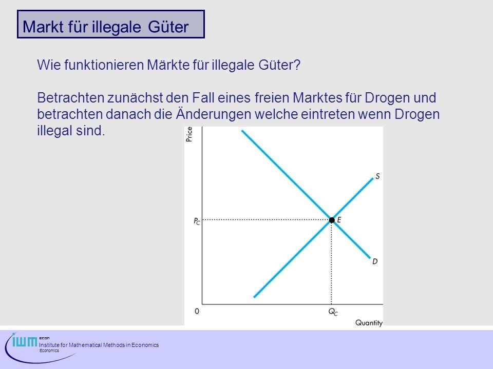 Institute for Mathematical Methods in Economics Economics Markt für illegale Güter Wie funktionieren Märkte für illegale Güter.