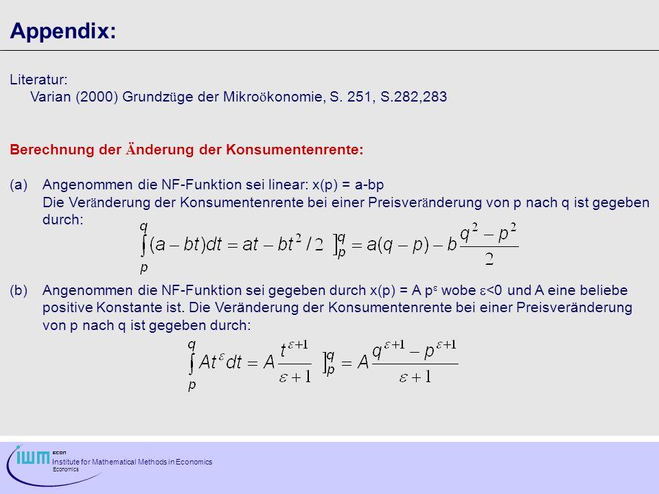 Institute for Mathematical Methods in Economics Economics Appendix: Literatur: Varian (2000) Grundz ü ge der Mikro ö konomie, S.