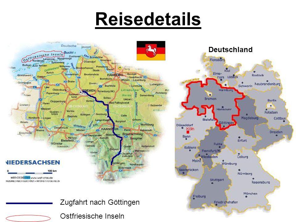Deutschland Zugfahrt nach Göttingen Ostfriesische Inseln Reisedetails