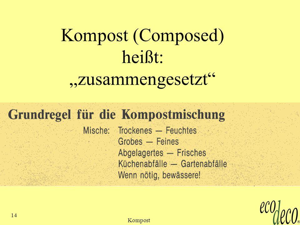 Kompost 14 Kompost (Composed) heißt: zusammengesetzt