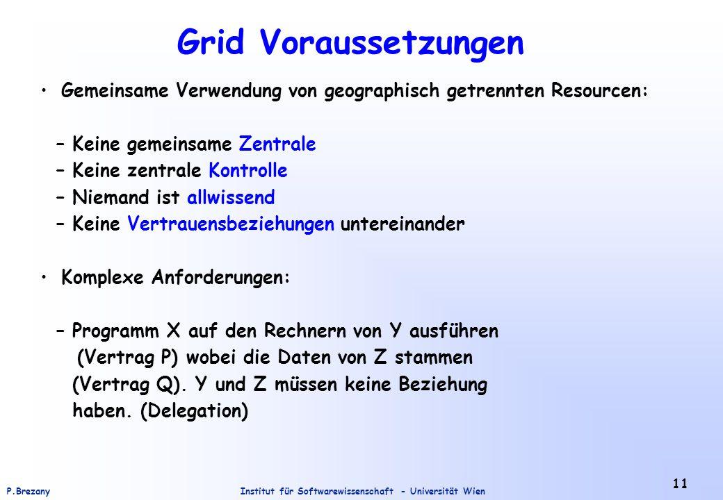 Institut für Softwarewissenschaft - Universität WienP.Brezany 11 Grid Voraussetzungen Gemeinsame Verwendung von geographisch getrennten Resourcen: – K