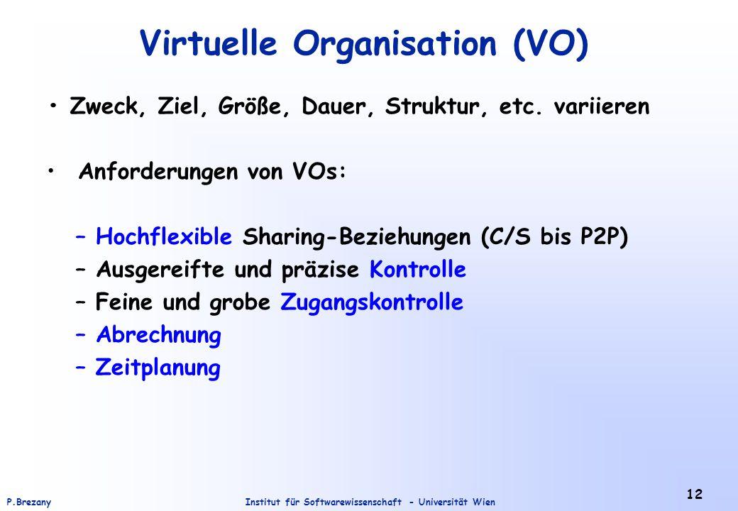 Institut für Softwarewissenschaft - Universität WienP.Brezany 12 Virtuelle Organisation (VO) Zweck, Ziel, Größe, Dauer, Struktur, etc. variieren Anfor