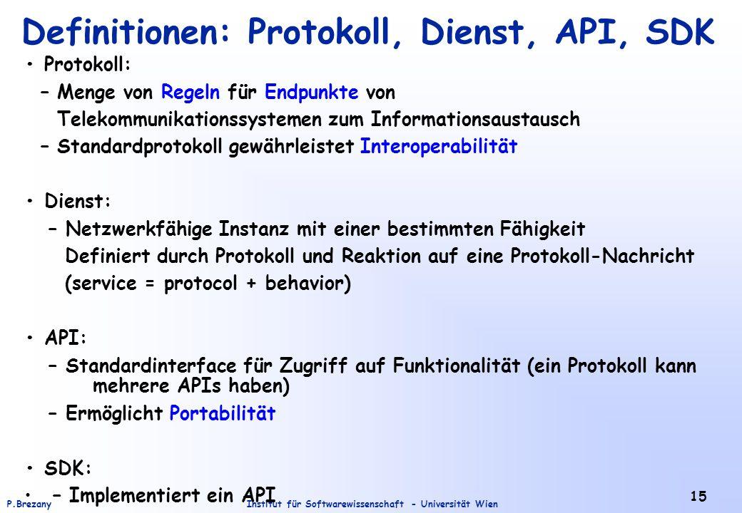 Institut für Softwarewissenschaft - Universität WienP.Brezany 15 Definitionen: Protokoll, Dienst, API, SDK Protokoll: – Menge von Regeln für Endpunkte