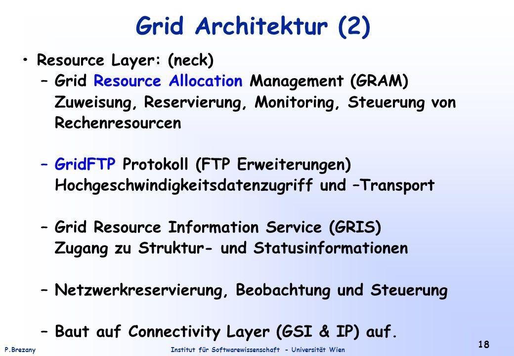 Institut für Softwarewissenschaft - Universität WienP.Brezany 18 Grid Architektur (2) Resource Layer: (neck) – Grid Resource Allocation Management (GR