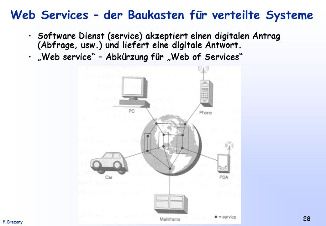 Institut für Softwarewissenschaft - Universität WienP.Brezany 28 Web Services – der Baukasten für verteilte Systeme Software Dienst (service) akzeptie