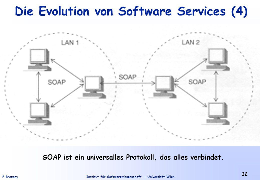 Institut für Softwarewissenschaft - Universität WienP.Brezany 32 Die Evolution von Software Services (4) SOAP ist ein universalles Protokoll, das alle