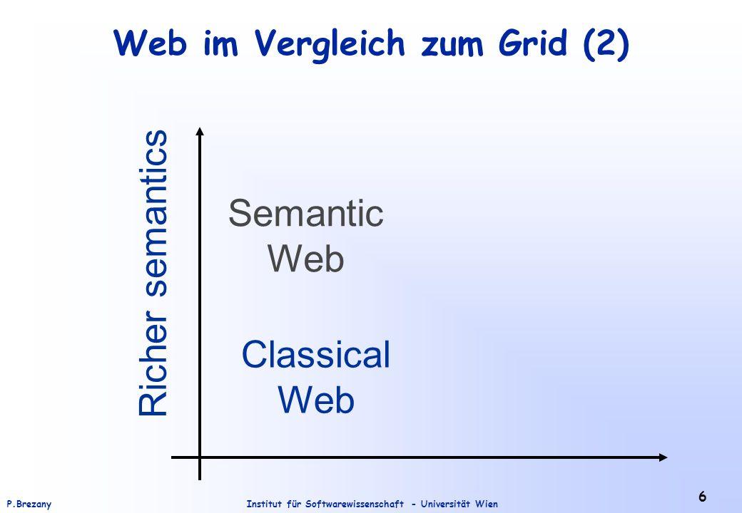 Institut für Softwarewissenschaft - Universität WienP.Brezany 6 Web im Vergleich zum Grid (2) Classical Web Semantic Web Richer semantics