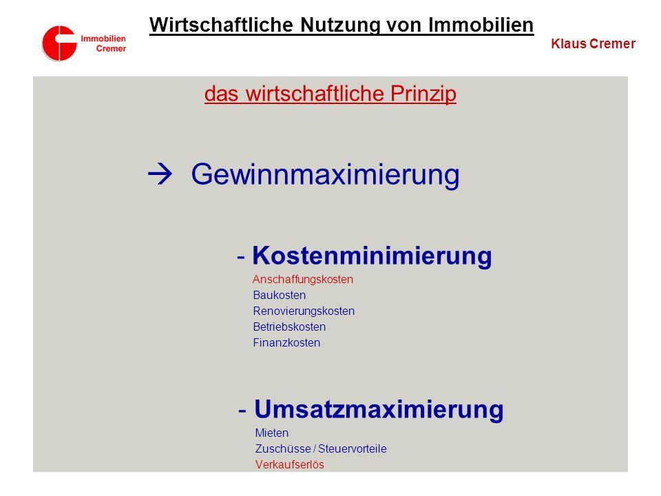 2. Nutzung Klaus Cremer Wirtschaftliche Nutzung von Immobilien