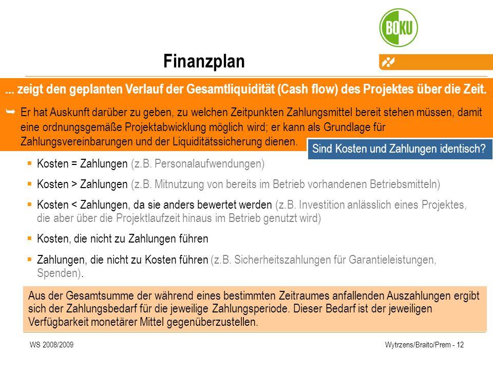 WS 2008/2009Wytrzens/Braito/Prem - 12 Finanzplan Kosten = Zahlungen (z.B. Personalaufwendungen) Kosten > Zahlungen (z.B. Mitnutzung von bereits im Bet