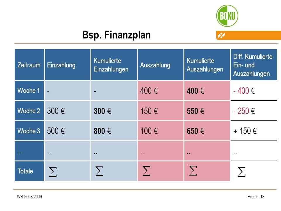 WS 2008/2009Prem - 13 Bsp. Finanzplan ZeitraumEinzahlung Kumulierte Einzahlungen Auszahlung Kumulierte Auszahlungen Diff. Kumulierte Ein- und Auszahlu