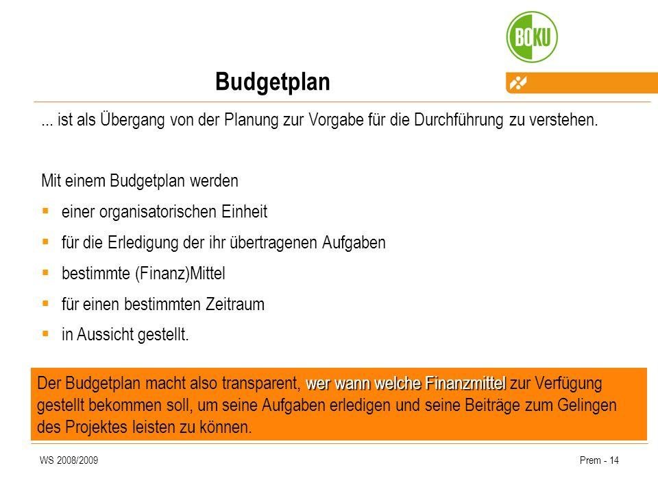 WS 2008/2009Prem - 14 Budgetplan... ist als Übergang von der Planung zur Vorgabe für die Durchführung zu verstehen. Mit einem Budgetplan werden einer