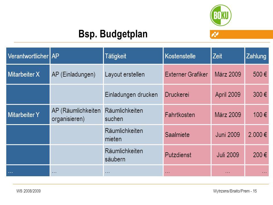 WS 2008/2009Wytrzens/Braito/Prem - 15 Bsp. Budgetplan VerantwortlicherAPTätigkeitKostenstelleZeitZahlung Mitarbeiter XAP (Einladungen)Layout erstellen