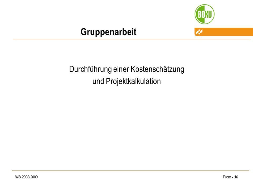 WS 2008/2009Prem - 16WS 2008/2009Prem - 16 Gruppenarbeit Durchführung einer Kostenschätzung und Projektkalkulation