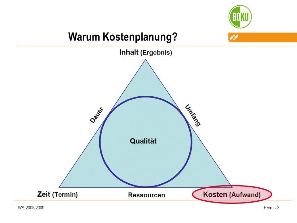 WS 2008/2009Prem - 4 Warum Kostenplanung.