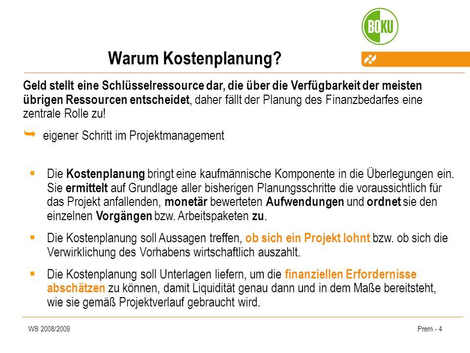 WS 2008/2009Prem - 5 Warum Kostenplanung.