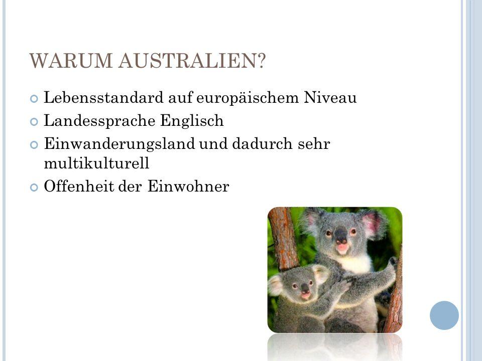 WARUM AUSTRALIEN? Lebensstandard auf europäischem Niveau Landessprache Englisch Einwanderungsland und dadurch sehr multikulturell Offenheit der Einwoh