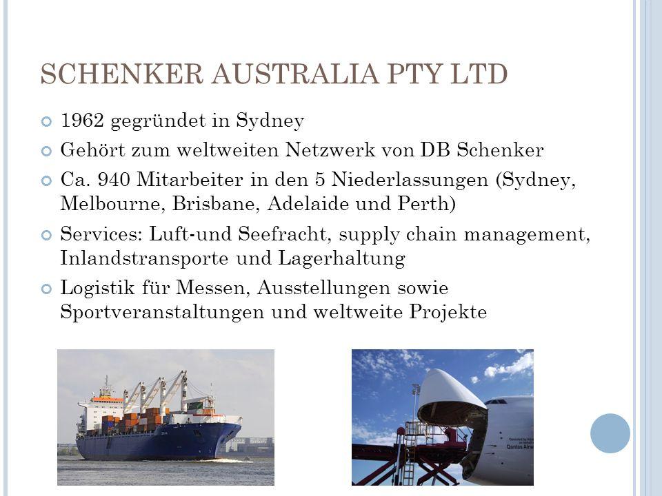 SCHENKER AUSTRALIA PTY LTD 1962 gegründet in Sydney Gehört zum weltweiten Netzwerk von DB Schenker Ca. 940 Mitarbeiter in den 5 Niederlassungen (Sydne