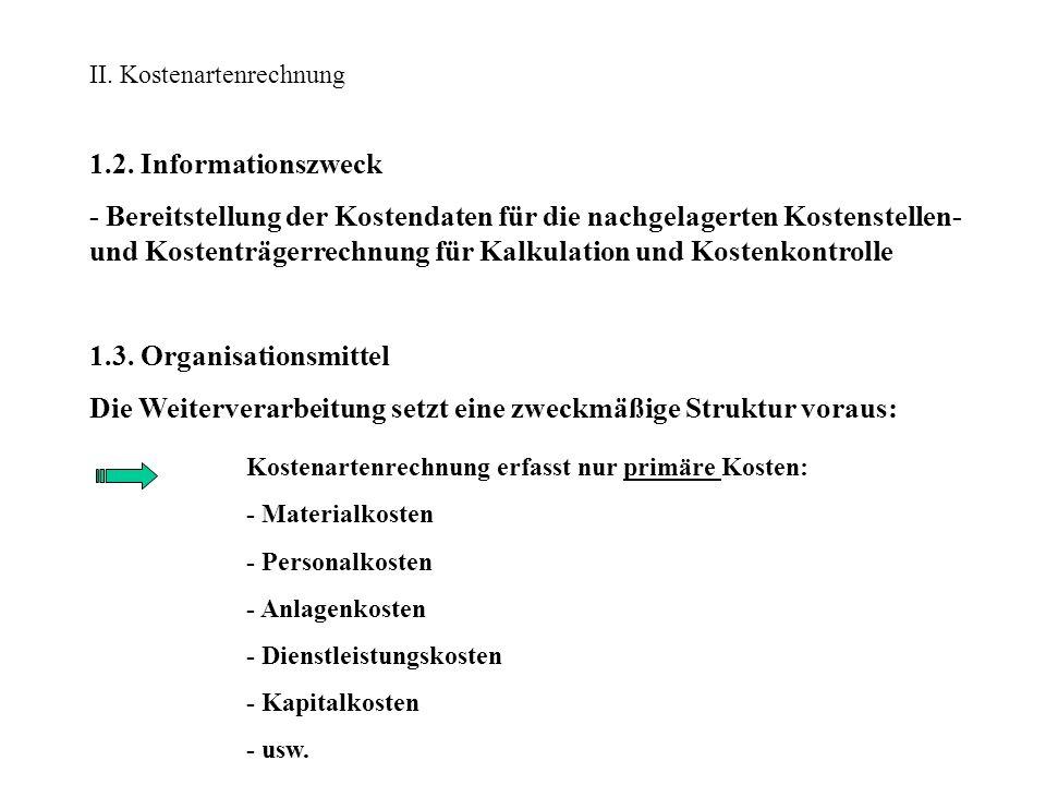 II. Kostenartenrechnung 1.2. Informationszweck - Bereitstellung der Kostendaten für die nachgelagerten Kostenstellen- und Kostenträgerrechnung für Kal