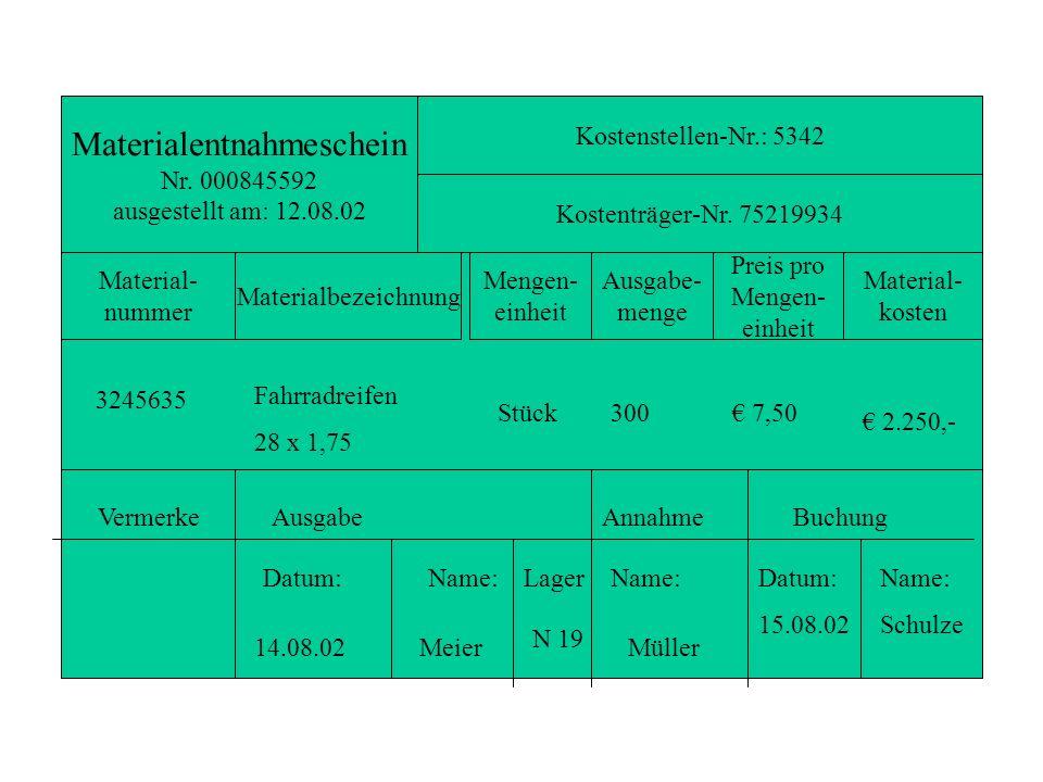 Materialentnahmeschein Nr. 000845592 ausgestellt am: 12.08.02 Kostenstellen-Nr.: 5342 Kostenträger-Nr. 75219934 Material- nummer Materialbezeichnung M