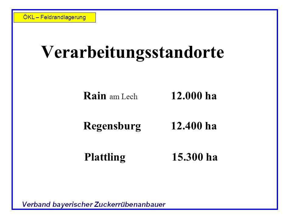 ÖKL – Feldrandlagerung Verarbeitungsstandorte Regensburg12.400 ha Plattling15.300 ha Rain am Lech 12.000 ha
