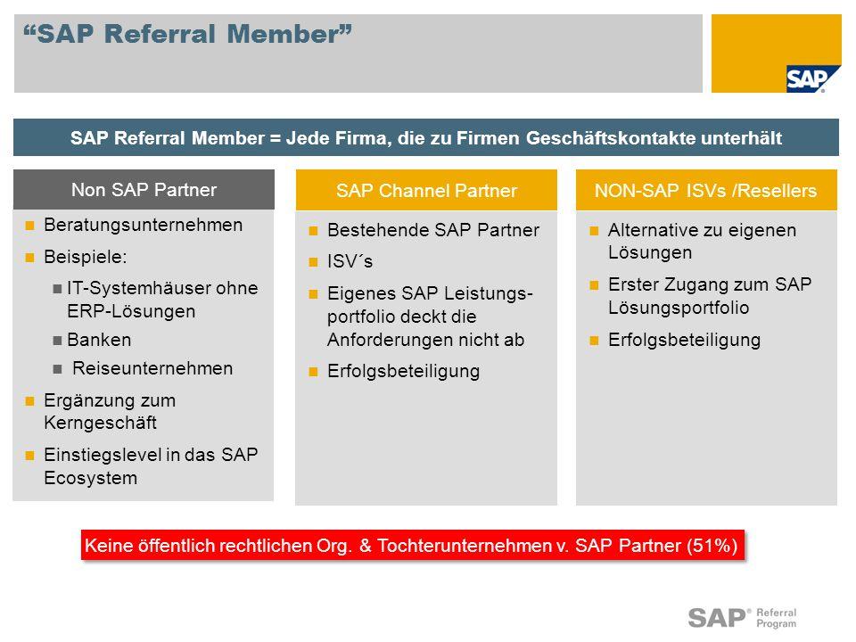 Alternative zu eigenen Lösungen Erster Zugang zum SAP Lösungsportfolio Erfolgsbeteiligung SAP Referral Member Beratungsunternehmen Beispiele: IT-Syste