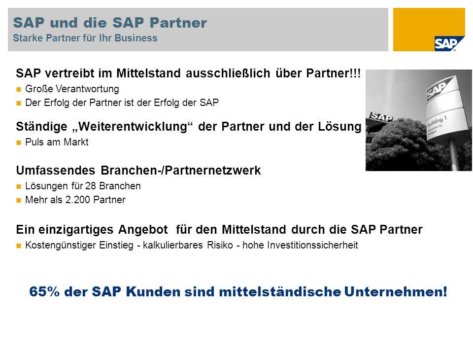 SAP Lösungen für den Mittelstand Stärken der SAP Mittelstandslösungen Best Fit für kleinere und mittlere Unternehmen Im Vordergrund - Ihre Herausforderungen & Ihre Strategie; die Art wie Sie Ihr Geschäft betreiben Passend für Ihr Budget und für Ihre Zeitleisten Abgestimmt zu Ihren IT-Möglichkeiten und zu Ihren bevorzugten IT-Betriebsoptionen Angepasst an die Bedürfnisse Ihrer Mitarbeiter Offen für Ihre zukünftigen Wachstumsstrategien Integrierte, vorkonfigurierte und dokumentierte Prozesse - keine Programmierung, einfache Anpassbarkeit Technologies Best Practices Solution Center Indirect Direct CHANNELS ERP&Suite Inventory Manageme nt Production Sales CRM Finance and Control Human Resources Plan ning Purchasin g Tools and Methodologies International Branchen vorkonfiguriert Partner vor Ort Referenzen